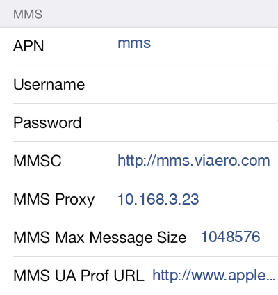 Viaero 3 MMS APN settings for iOS screenshot