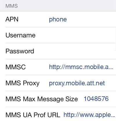 AT&T 2 MMS APN settings for iOS screenshot
