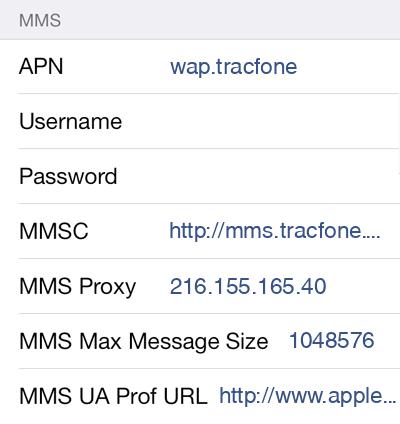 Telcel America 2 MMS APN settings for iOS screenshot