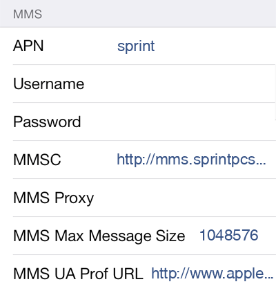 Sprint 2 MMS APN settings for iOS screenshot