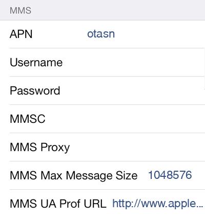 Total Wireless 1 MMS APN settings for iOS screenshot