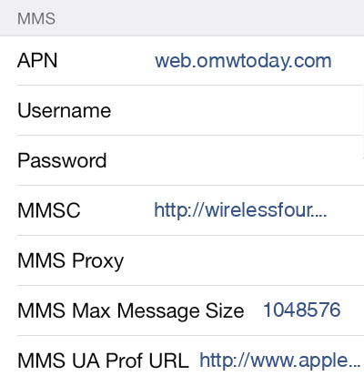 Walmart Family Mobile 2 MMS APN settings for iOS screenshot