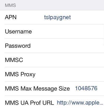 CTExcel 1 MMS APN settings for iOS screenshot