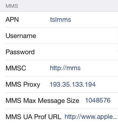 CTExcel 3 MMS APN settings for iOS screenshot