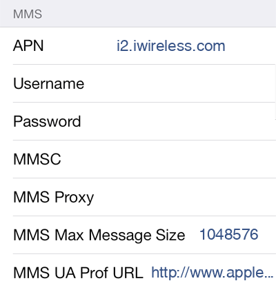 iWireless 1 MMS APN settings for iOS screenshot