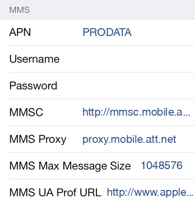 Pix Wireless 2 MMS APN settings for iOS screenshot