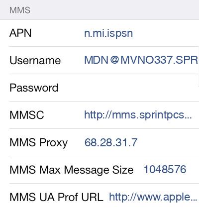 Tello 2 MMS APN settings for iOS screenshot