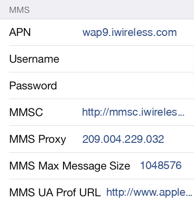 iWireless 3 MMS APN settings for iOS screenshot