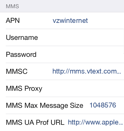 Total Wireless 2 MMS APN settings for iOS screenshot