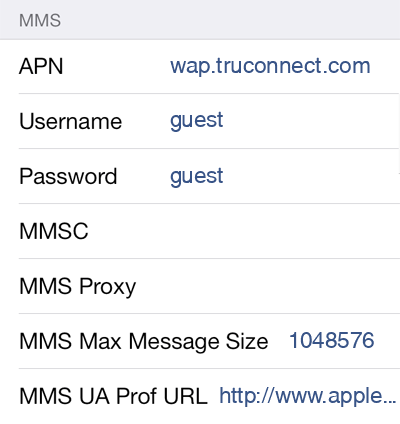 TruConnect 1 MMS APN settings for iOS screenshot