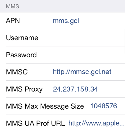 GCI 3 MMS APN settings for iOS screenshot