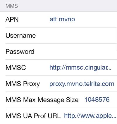 Pure Talk 2 MMS APN settings for iOS screenshot